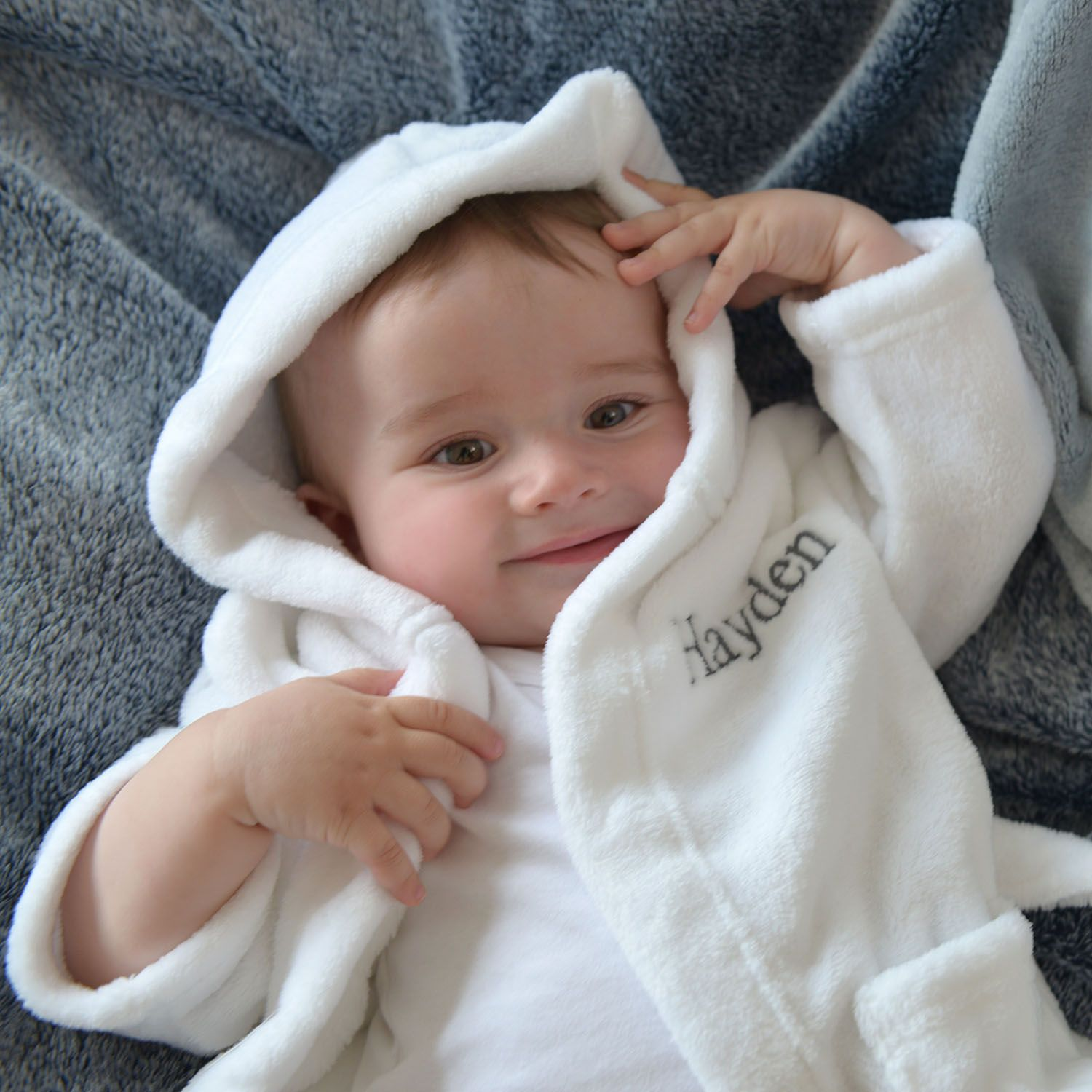 Personalised Soft Baby Dressing Gown In White ad105c545